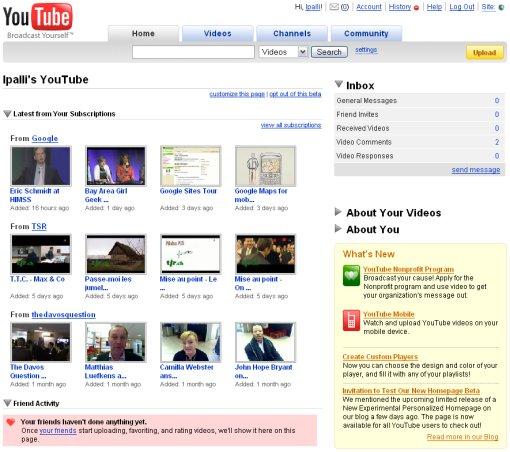 YouTube: pagina principale personalizzata