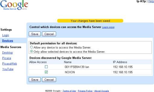 Google Media Server: periferiche