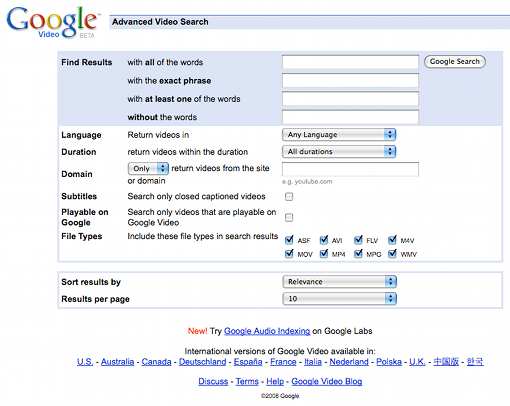 Google Advanced Video Search